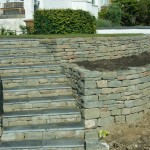 Dry stone steps and retaining wall