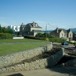 Dry stone retaining walls and a view in Edinburgh