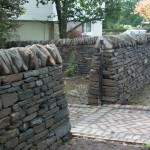Dry stone wall and gate entrance