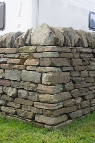 Dry stone wall and corner