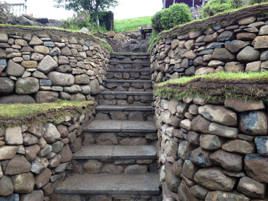 Carlops retaining walls steps and bench Stone Inspired