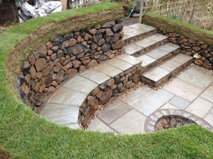 Dry stone seating area and fire pit