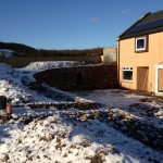 Dry stone retaining walls and recess arch