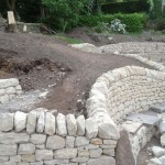 Dry stone wall and bench