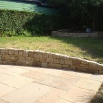 Stone wall and paving