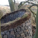 Stone and turf dry stone bench