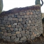 Dry stone bench with turf top