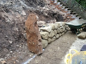 Dry stone retaining walls and steps