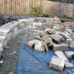 Garden stone wall in progress