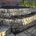 Garden dry stone retaining walls