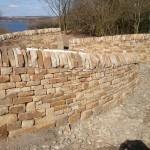 Dry stone entrance walls at Vane Farm RSPB