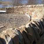 Curving dry stone wall