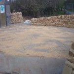 dry stone walls and paved area