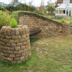 Dry stone, wood and turf bench