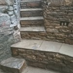 Dry stone retaining wall and steps.