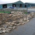Dry stone wall under construction