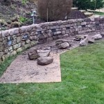 Dry stone retaining wall and lights