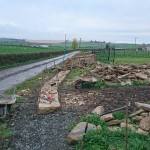 A dry stone wall under construction
