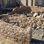 The dry stone wall under construction