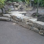 Small dry stone steps in a Glasgow garden