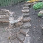 Dry stone bench and steps