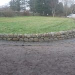 Dry stone retaining walls