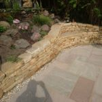 Dry stone bench and terraces