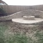 Dry stone bench and firepit