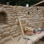 Dry stone walls under construction