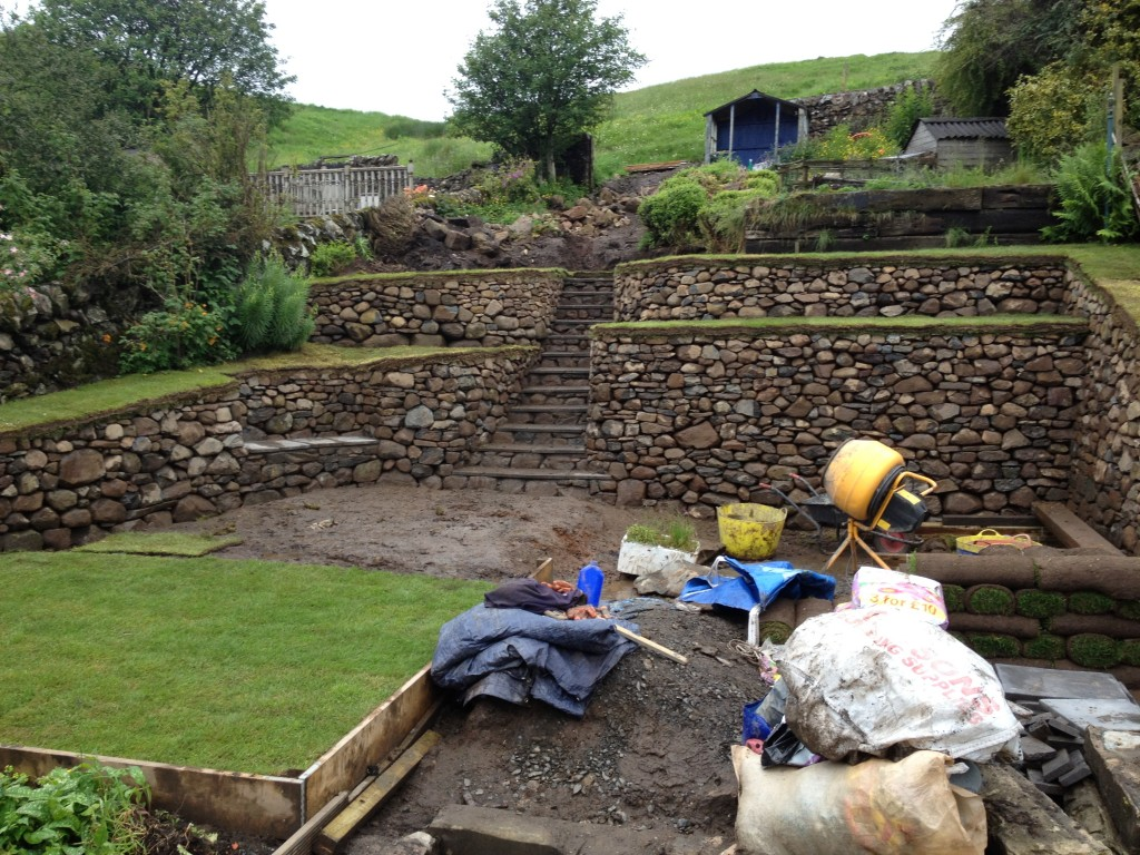 Carlops dry stone retaining wall finished