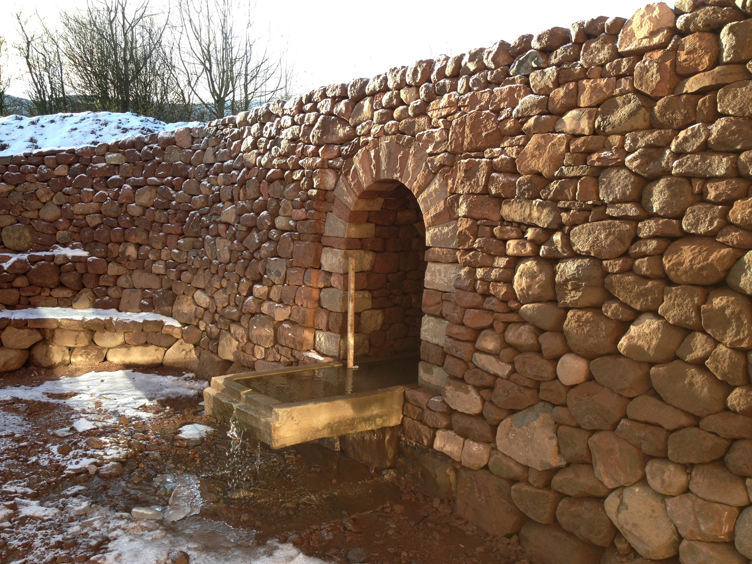 Dry stone arch and water feature