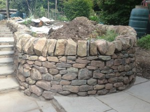 Dry stone walling raised bed