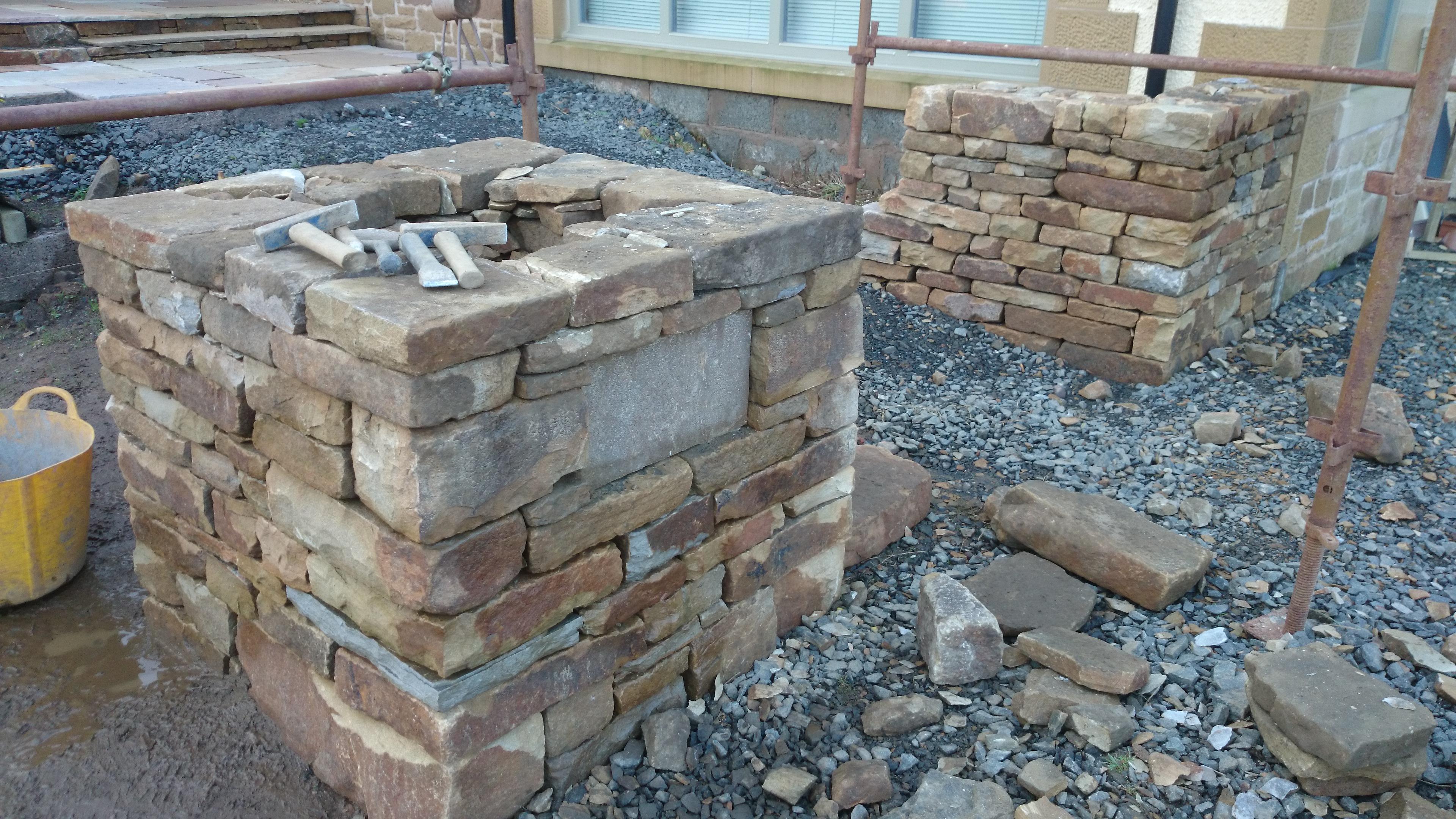 Early days - the square dry stone planter