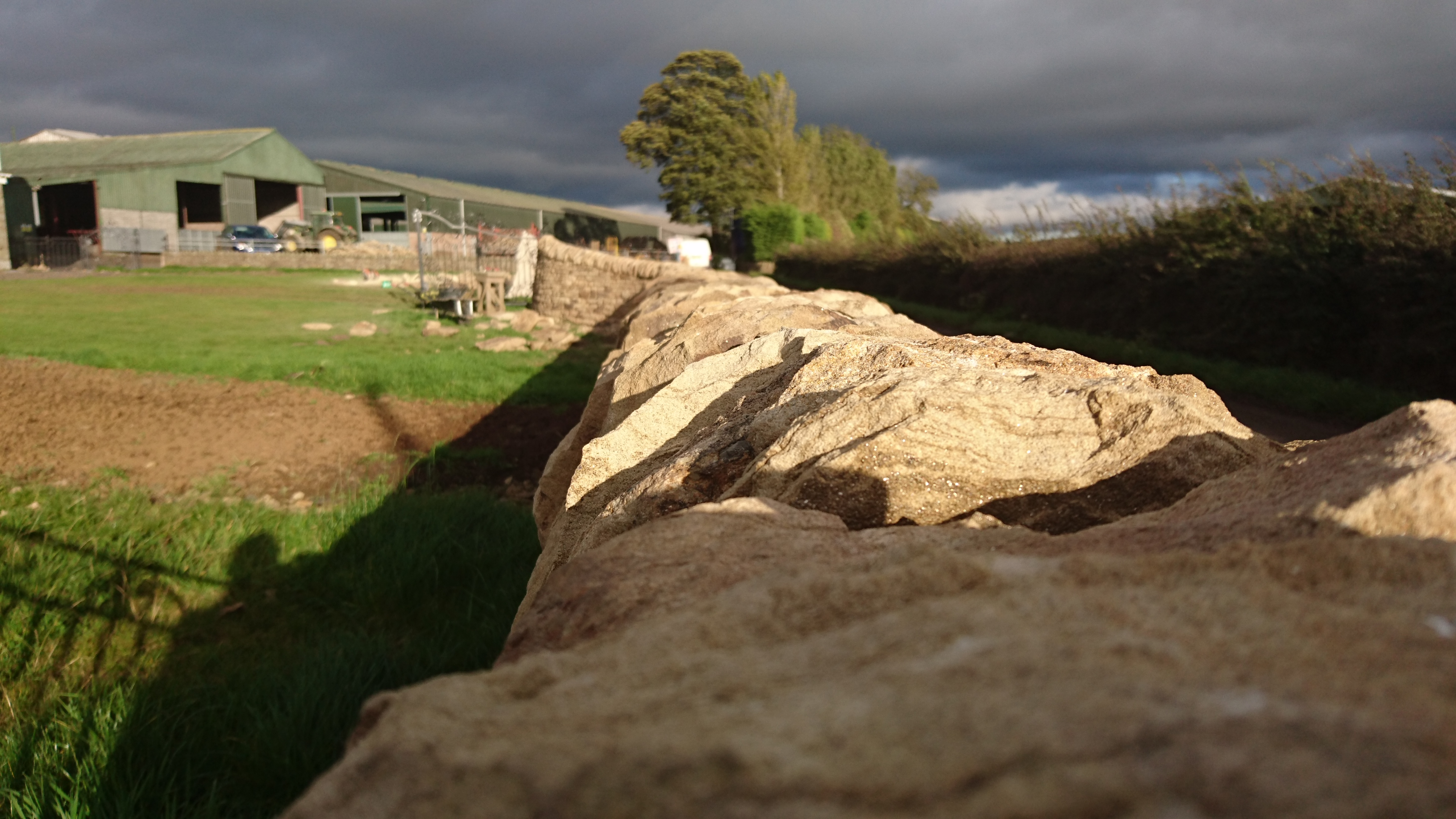 A view along the top of a dry stone wall