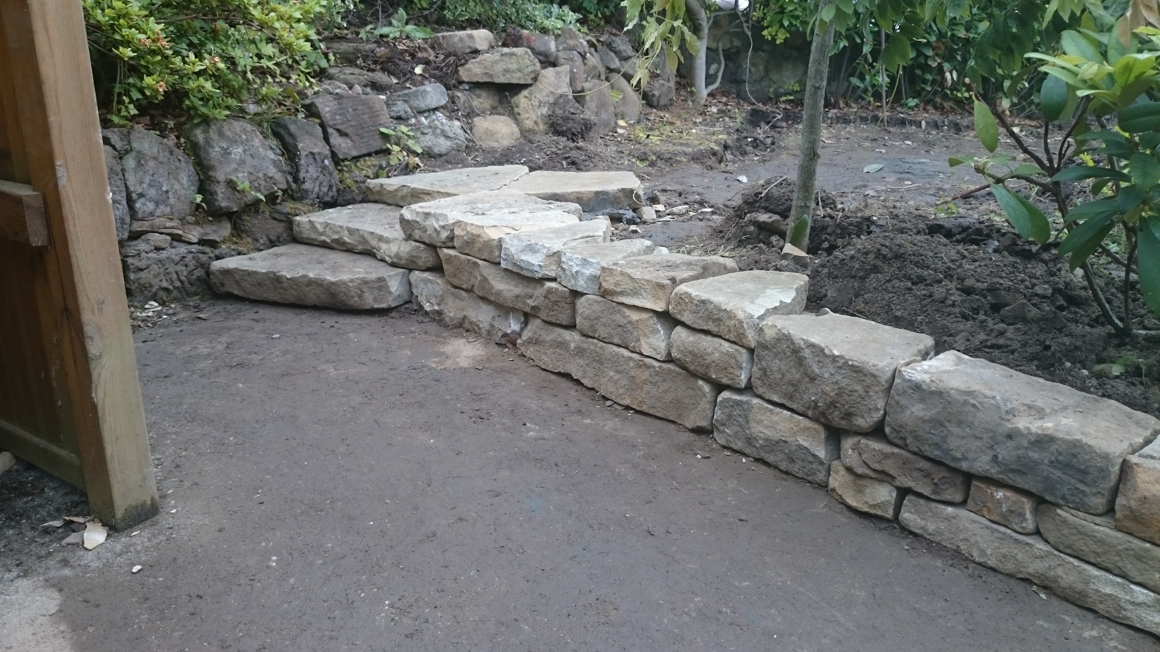 Small dry stone steps in a Glasgow garden