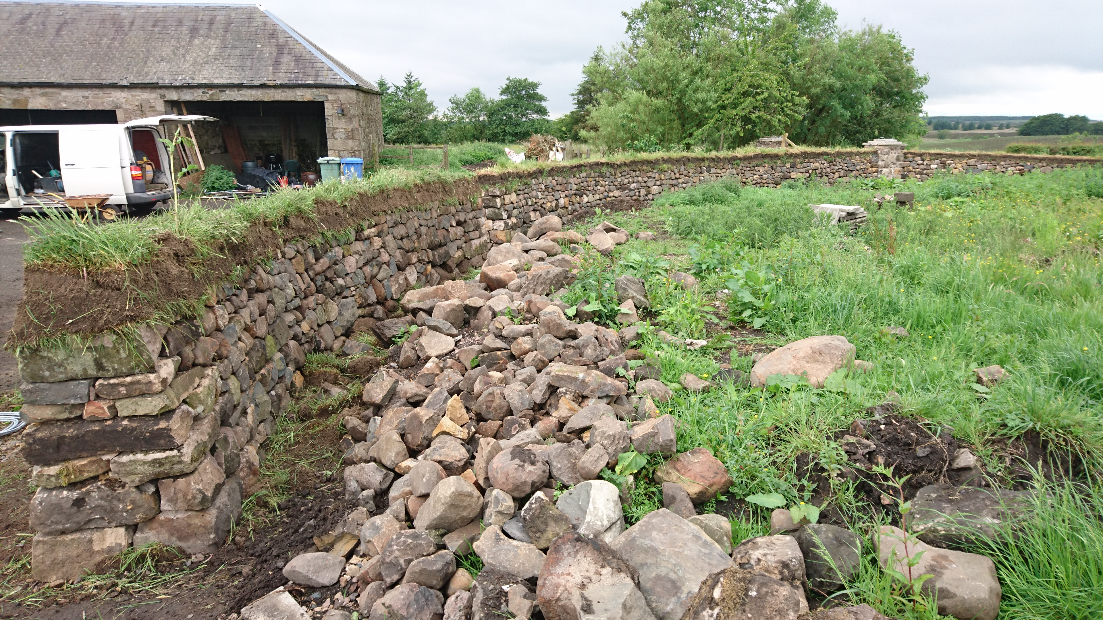 Dry stone wall with turf top