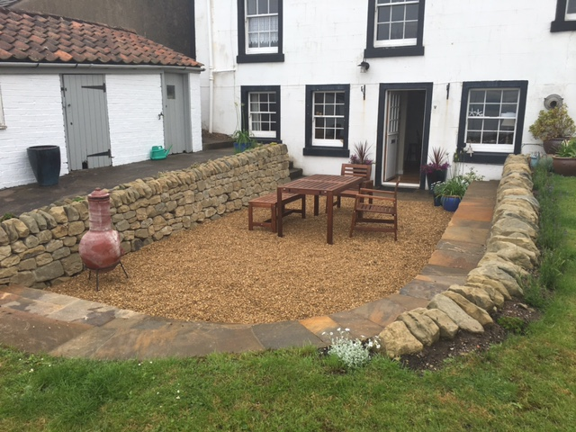 Dry stone seating area