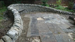 Dry stone bench and wall