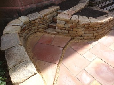 Dry stone steps and paving