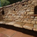 Dry stone bench with recesses for candles, Edinburgh
