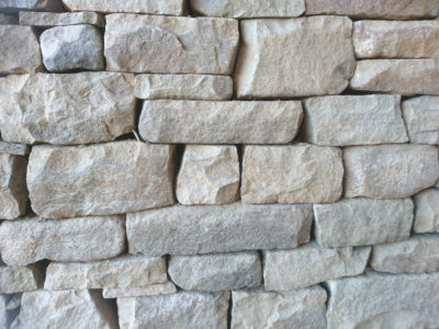 Close-up detail of a dry stone wall, Fife, Scotland