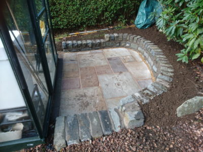 Small garden paving and mortared wall in Dunfermline, Fife