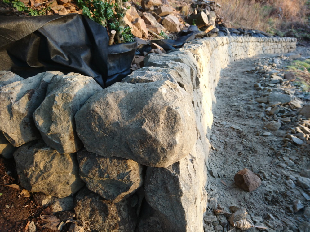 Dry stone retaining wall in Perth, Scotland