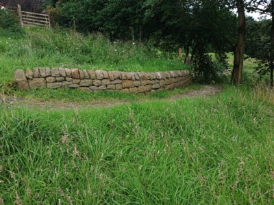 Dry stone retaining wall in Perth, Scotland