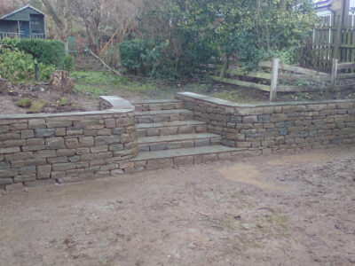 Stone steps and retaining wall