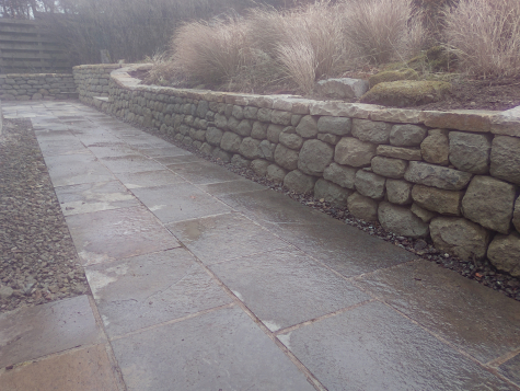 Scottish Borders dry stone retaining walls and steps after