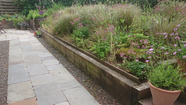 Scottish Borders dry stone retaining walls and steps before