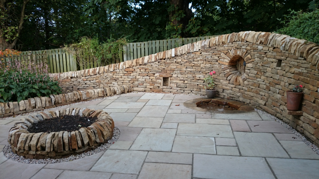 Edinburgh seating area, water feature and paving after