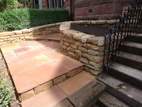 Hyndland dry stone seating and paving after